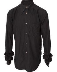 Comme Des Garçons Frill Sleeve Textured Shirt Black - Lyst