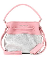 Miu Miu Mini Leather Bucket Bag - Lyst