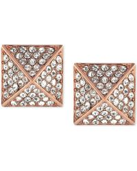 Vince Camuto - Rose Gold-tone Crystal Pyramid Earrings - Lyst