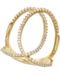 Pori - 18k Yellow Gold Plated Sterling Silver Overlapping Ovals Cz Ring - Lyst