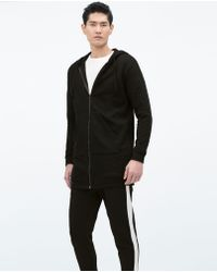 Zara Black Long Sweatshirt - Lyst