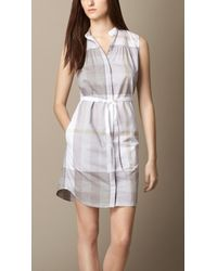 Burberry Check Cotton-Voile Shirt Dress - Lyst