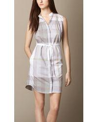 Burberry Check Cotton-Voile Shirt Dress - Lyst
