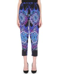 Emilio Pucci Printed Tapered Silk Trousers Blue - Lyst
