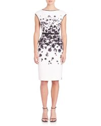 St. John | Graphic Floral Stretch-silk Peplum Dress | Lyst