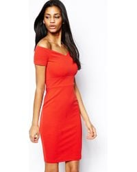 Tfnc Bardot Bodycon Dress - Lyst