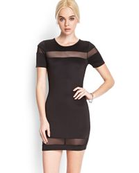 Forever 21 Scuba Knit Mesh Dress - Lyst