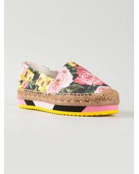 Dolce & Gabbana Peony Print Brocade Platform Espadrilles - Lyst