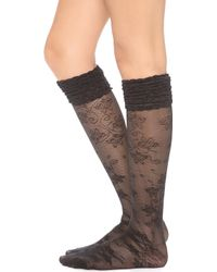 Alice + Olivia - Alice Olivia Lace Ruffle Top Knee High Socks Black - Lyst