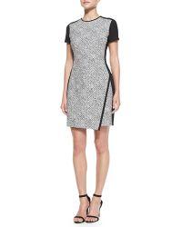 Shoshanna Noah Shortsleeve Pebbled Combo Dress Blackwhite 0 - Lyst
