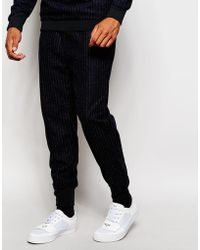 2 X H Brothers - 2x H Brothers Skinny Wool Mix Joggers In Pinstripe - Lyst
