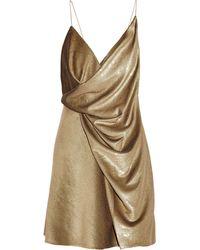 Saint Laurent Draped Neck Mini Dress - Lyst