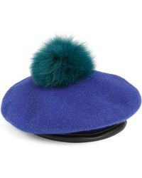 Eugenia Kim | Fox Fur Pom-pom Wool Beret | Lyst