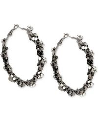 Steve Madden Hematite-tone Crystal Chain-wrapped Hoop Earrings - Lyst