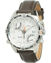Timex - Intelligent Quartz Adventure Series Fly-back Chrono Compass Leather Strap Watch - Lyst
