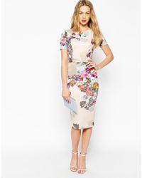Asos Floral Print Scuba Bodycon Dress - Lyst