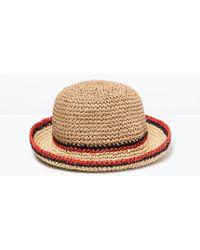 Zara Hat With Stripe Detail - Lyst