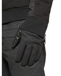 DIESEL - Wool Felt & Nappa Leather Gloves - Lyst