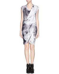 Helmut Lang Tidal Print Jersey Drape Dress - Lyst