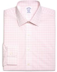 Brooks Brothers Noniron Regular Fit Overcheck Gingham Dress Shirt - Lyst