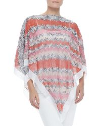 Missoni Zigzag-knit Poncho with White Trim - Lyst