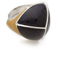 Eddie Borgo Inlaid Threesided Pyramid Ring Blackyellow - Lyst