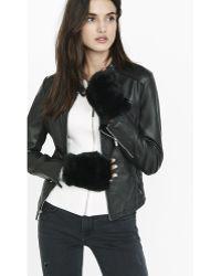 Express - Black Faux Fur Fingerless Gloves - Lyst