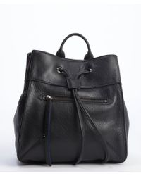 Olivia Harris Black And Perri Blue Leather Small Backpack - Lyst