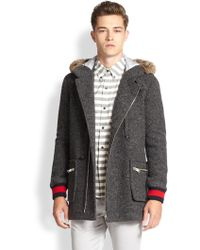 Band Of Outsiders Heathered Rabbit Fur-trimmed Wool Parka - Lyst