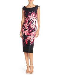Eliza J | Floral Scuba Sheath Dress | Lyst