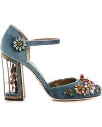Dolce & Gabbana Embellished Velvet Cage-heel Pumps - Lyst