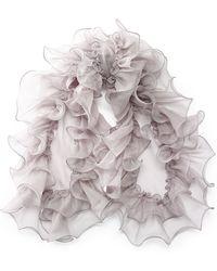 Ralph Lauren Silk Organza Ruffled Scarf - Lyst