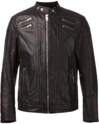 Diesel Black Biker Jacket - Lyst