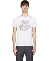 Moncler White Paint Splash Logo Short Sleeve T_Shirt - Lyst