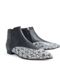 Bionda Castana Black Leather Snakeskin Ankle Boot - Lyst