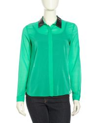 Sachin & Babi Rimini Leather Collar Paneled Silk Top  - Lyst