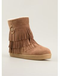 Tory Burch Collins Fringed Booties - Lyst