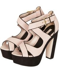 Topshop Sure Nude Cross Over Platform Shoes - Lyst