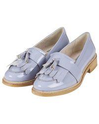Topshop Krome Patent Fringe Loafers - Lyst