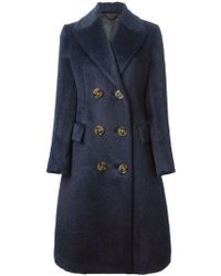 Burberry Prorsum Double Breasted Belted Coat - Lyst