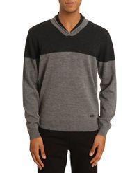Armani V-Neck Sweater Contrasting Grey - Lyst