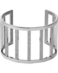 Michael Kors Silvertone  Crystal Bar Cuff Bracelet - Lyst