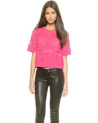 Rebecca Taylor Patch Lace Top - Hot Pink - Lyst