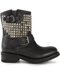 Ash Studded Buckled Boots - Lyst