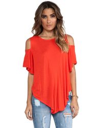 Free People Cold Shoulder Seamed Top - Lyst