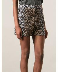 Elizabeth And James High Waisted Animal Print Shorts - Lyst