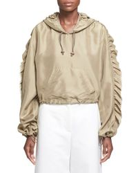 3.1 Phillip Lim - Ruffle Trim Crop Hooded Silk Anorak - Lyst