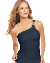 Michael Kors One Shoulder Hardware Tankini Top - Lyst