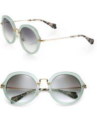Miu Miu 54Mm Round Sunglasses green - Lyst