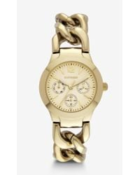 Express - Multi-function Chain Link Bracelet Watch - Gold - Lyst